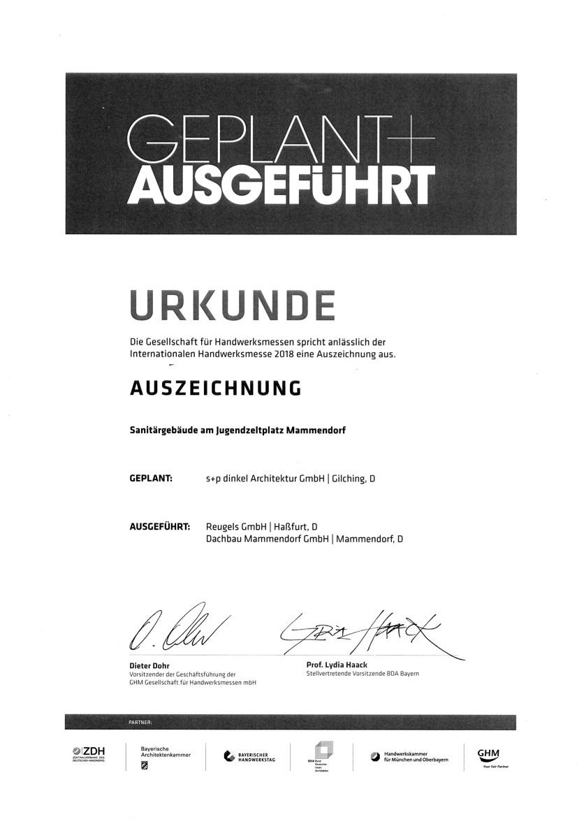 """Auszeichnung bei """"Geplant + Ausgeführt"""" 2018"""