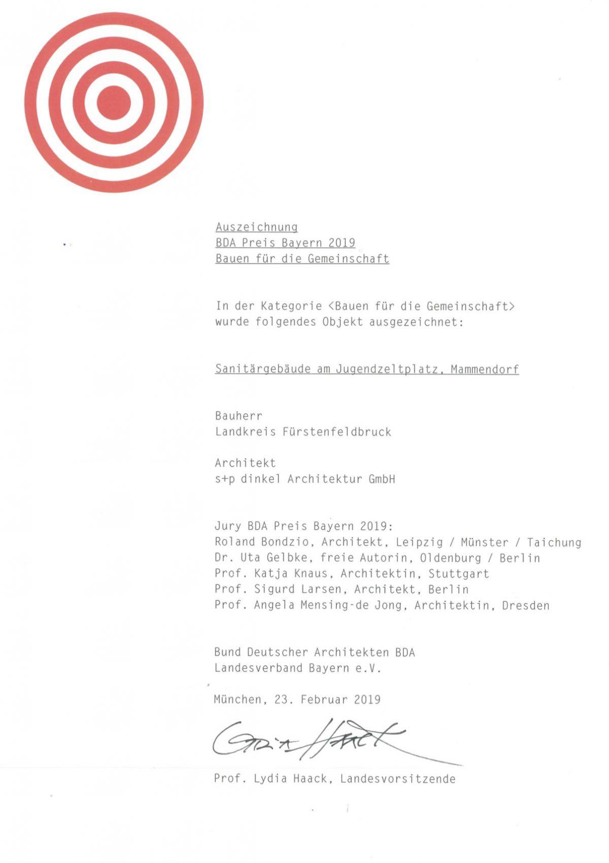 Auszeichnung BDA-Preis Bayern 2019